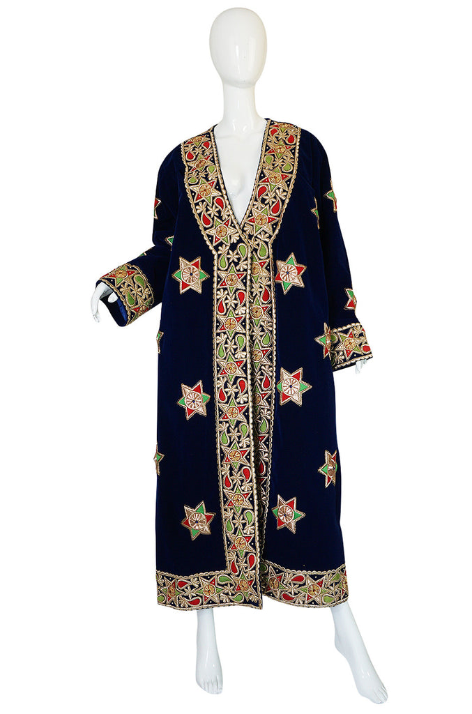 1960s Deep Blue Velvet & Embroidered Star Applique Coat