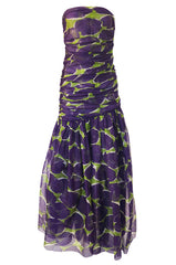 c1985 Yves Saint Laurent Strapless Purple & Green Silk Voile Dress