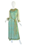 1970s Green Printed Ruffled Silk Chiffon Treacy Lowe Dress