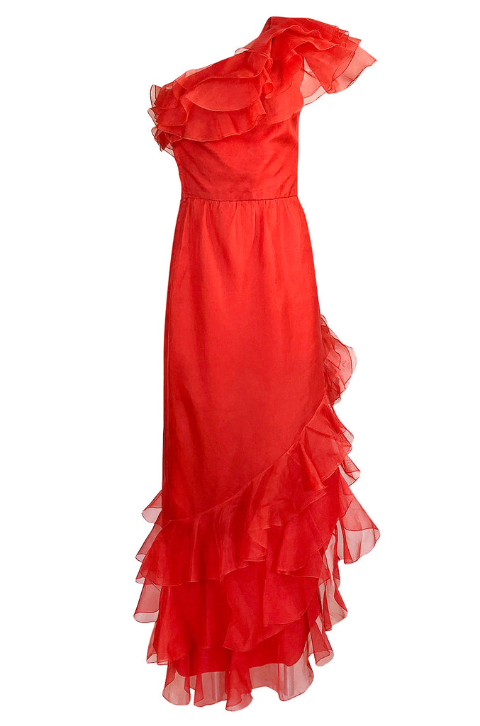 1980s Bellville Sassoon Ruffled Red Chiffon One Shoulder Dress