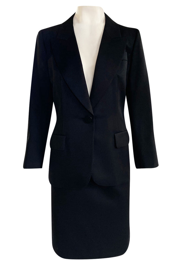 Iconic Fall 1996 Yves Saint Laurent True Haute Couture 'Le Smoking' Black Tuxedo Skirt Suit