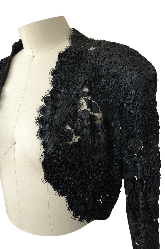 1980s Isabelle Allard Paris Strapless Ribbon Lace Dress & Cropped Jacket