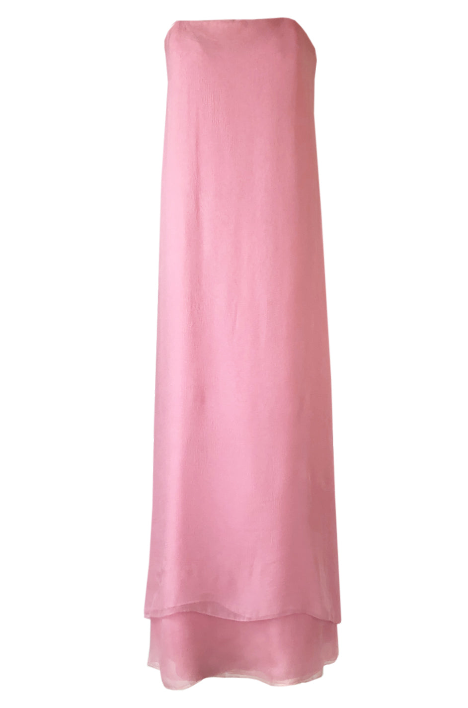 a54b7b64ad 1960s George Stavropoulos Strapless Layered Light Pink SIlk Chiffon Dress