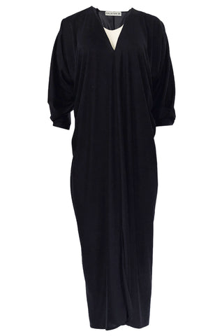 1970s Halston Easy to Wear Black Jersey Slip On Caftan Dress