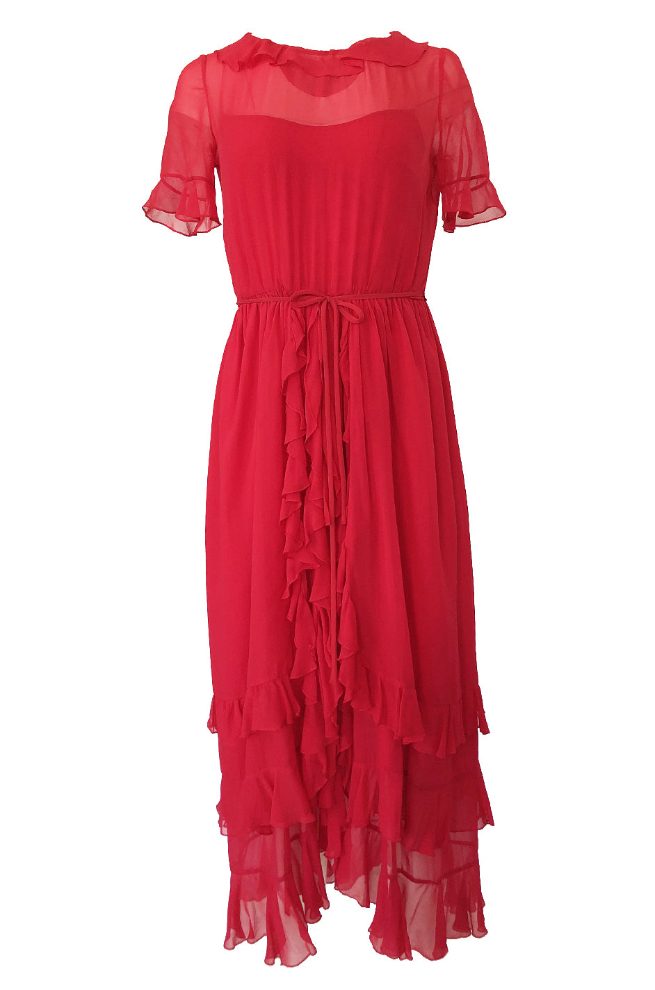 61c4c982d2 1970s Bill Blass Feather Light Red Ruffled Tiered Skirt Silk Chiffon Dress