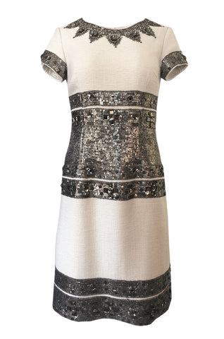 46317c9f520a Fall 2007 Oscar de la Renta Sequin & Bead on Ivory Boucle Wool Runway Dress