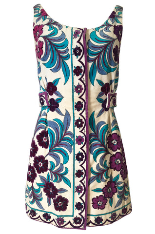 1960s Emilio Pucci Floral Printed Terry Cloth Velour Micro Mini Dress