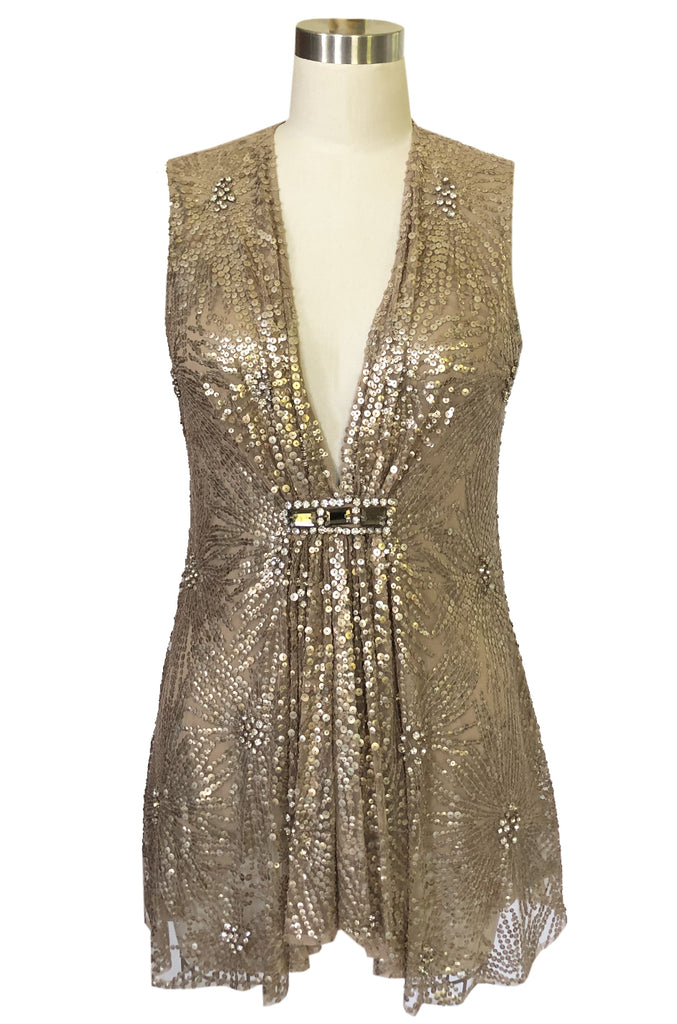Mid- 2000s Naeem Khan Densely Sequin & Rhinestone Couture Top