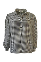Chic 1980s Valentino Boutique Graphic Black & White Silk Top