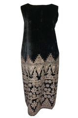1920s Babani Haute Couture Silk Velvet w Geometric Gold Metallic Cord Dress
