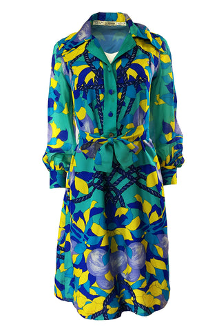 Dated 1975 La Mendola Turquoise & Blues Belted Silk Shirt Dress