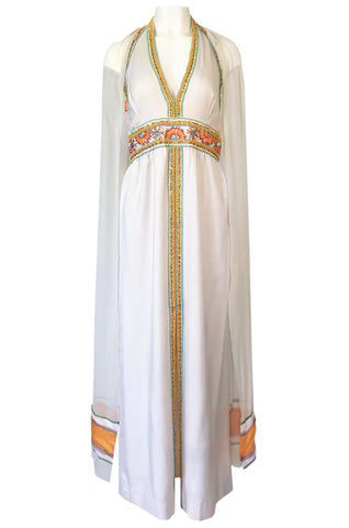 1970s Giorgio Sant' Angelo Beaded Plunge Double Scarf Sleeve Dress