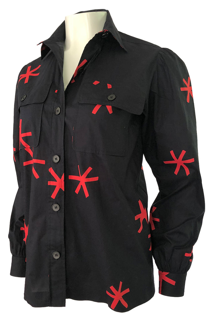 1970s Yves Saint Laurent  Black and Red Print Cotton Top w Pockets