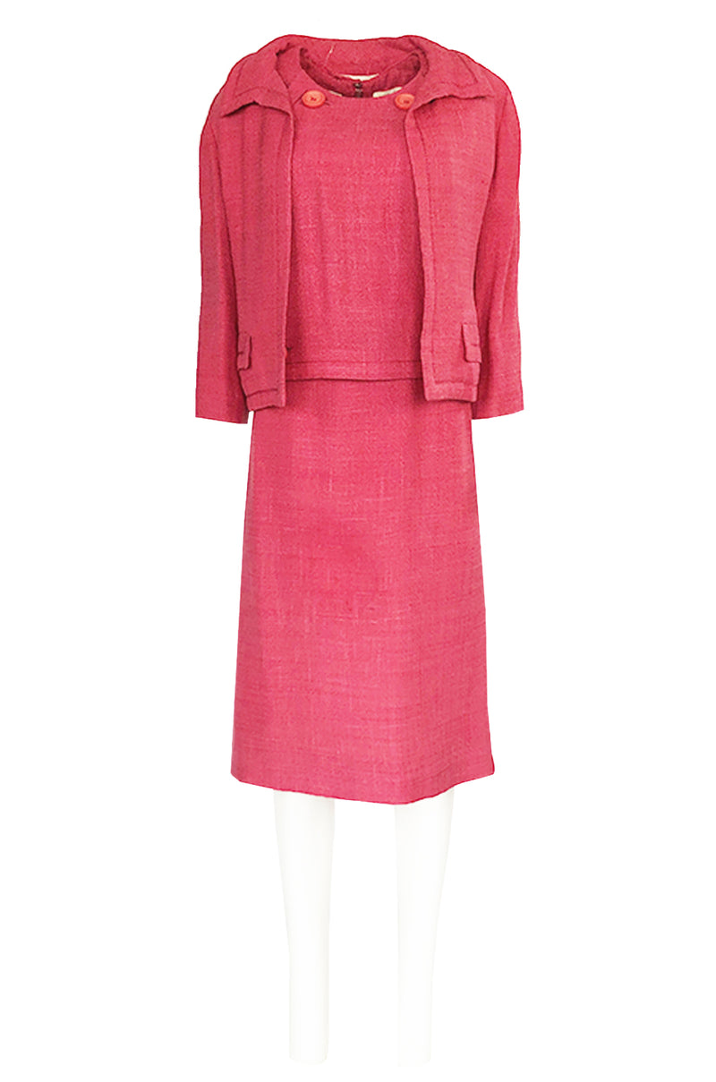 Spring 1961 Christian Dior Demi-Couture Pink Linen & Silk Dress Suit