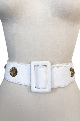 1970s Christian Dior White Belt w Gold Metal Medallions