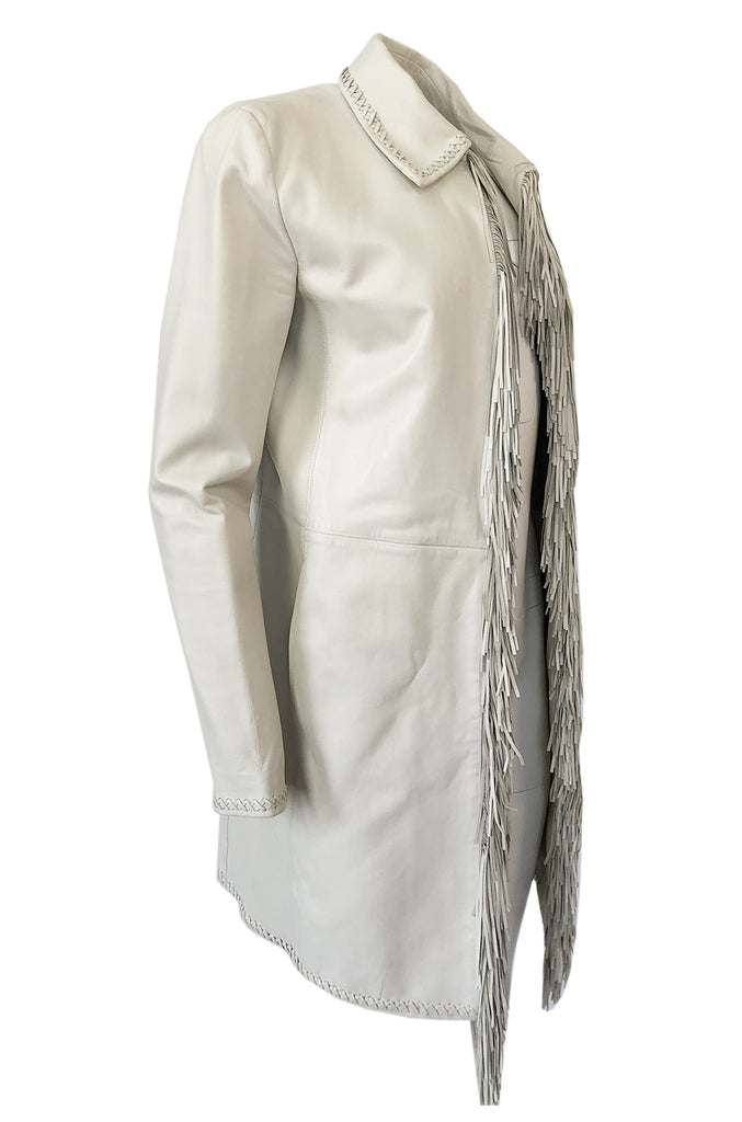 Spring 2002 Gianni Versace Butter Soft Fringe Ivory Leather Jacket