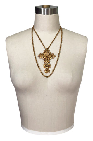 Vintage Florenzi Double Chain Gold Filigreed Cross Necklace