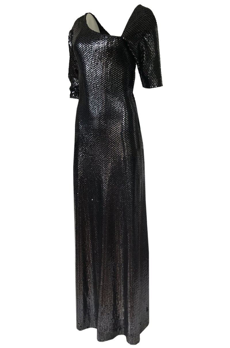 Iconic 1976 Halston Glossy Gunmetal Black Sequin Asymmetrical Full Length Dress