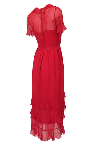 1970s Bill Blass Feather Light Red Ruffled Tiered Skirt Silk Chiffon Dress