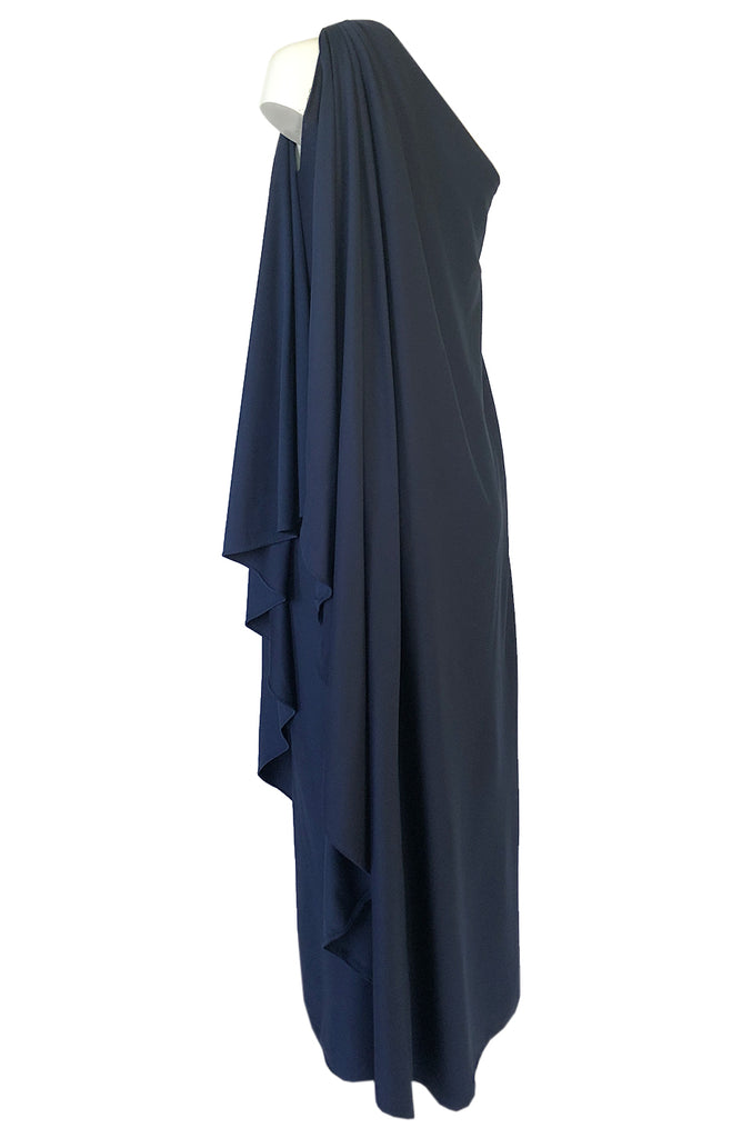 1978 Halston Deep Blue One Shoulder Draped Jersey Maxi Dress