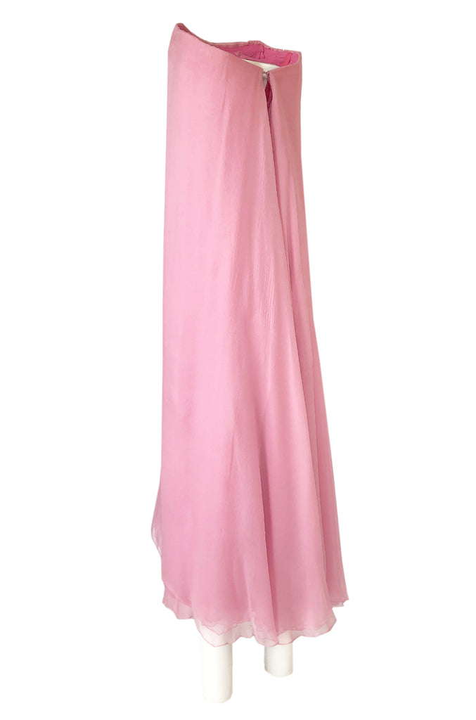 1960s George Stavropoulos Strapless Layered Light Pink SIlk Chiffon Dress