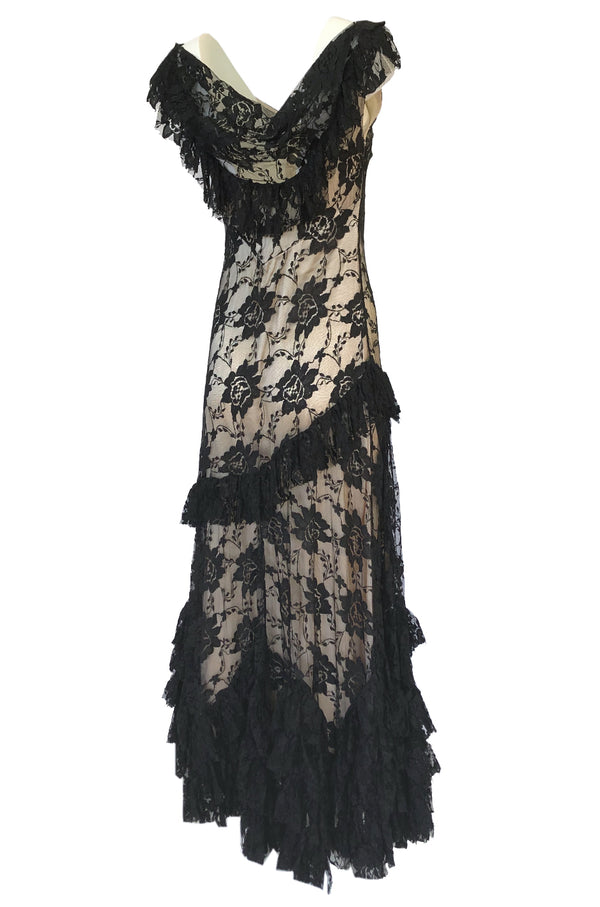 2000s John Galliano Spanish Feeling Tiered Lace Bias Cut Dress