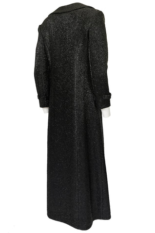 1970s Joseph Magnin Black Glitter Lame Full Length Great Coat Maxi Coat