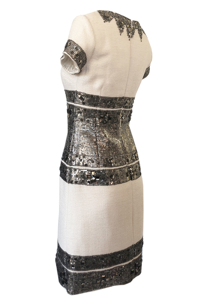 Fall 2007 Oscar de la Renta Sequin & Bead on Ivory Boucle Wool Runway Dress