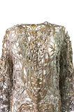 1960s Unlabeled Couture Heavy Metallic Gold & Silver Thread Caftan