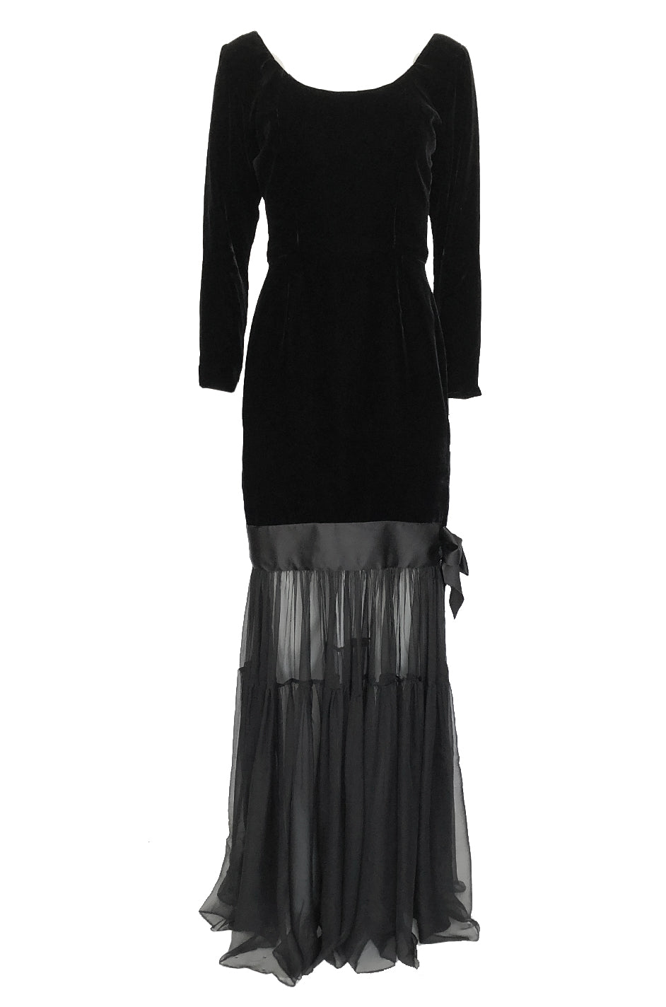 e6bec116f1 Fall 1987 Yves Saint Laurent Fitted Black Velvet   Sheer Silk Chiffon Dress