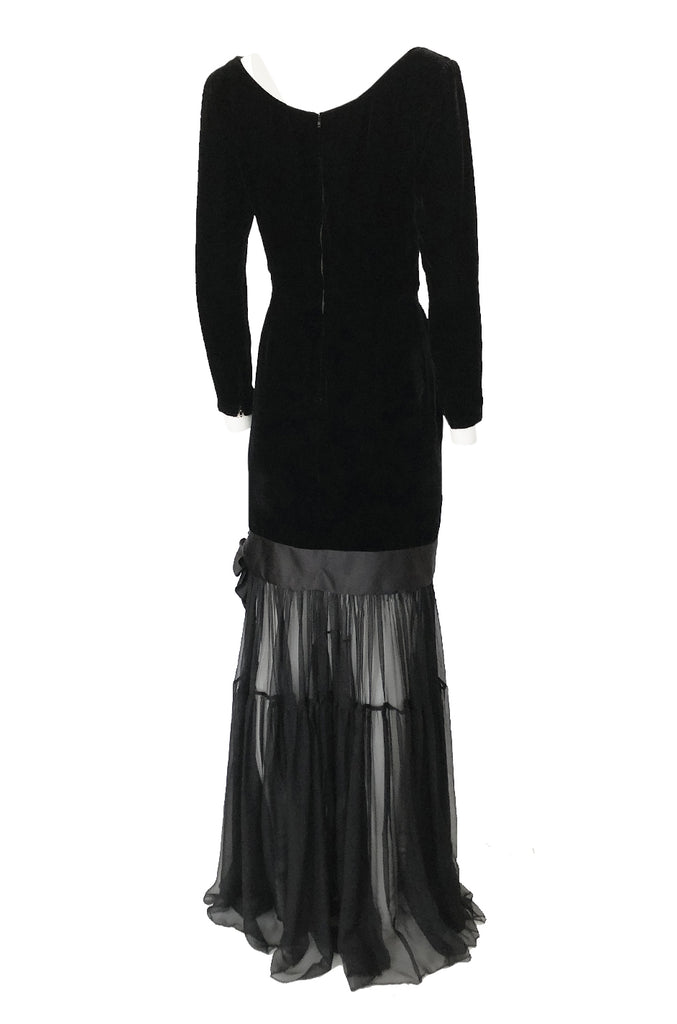 Fall 1987 Yves Saint Laurent Fitted Black Velvet & Sheer Silk Chiffon Dress