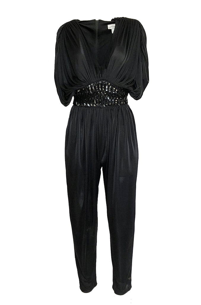 1980s Black Plunge Front Draped Jersey & Sequin Cropped Jumpsuit