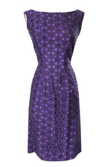 Pretty 1950s Purple Embroidered Netted Lace Floral Wiggle Dress