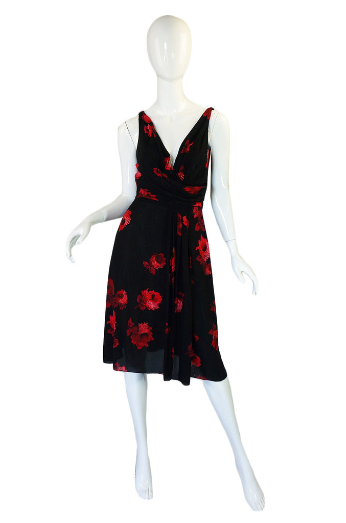 2005 Iconic Rose Print Prada Silk Dress