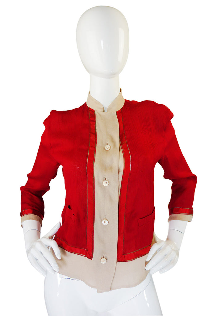 Recent Red Runway Silk Prada Top