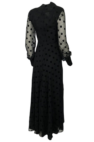 1970s Ted Lapidus Haute Couture Fused Velvet Dotted Black Maxi Dress