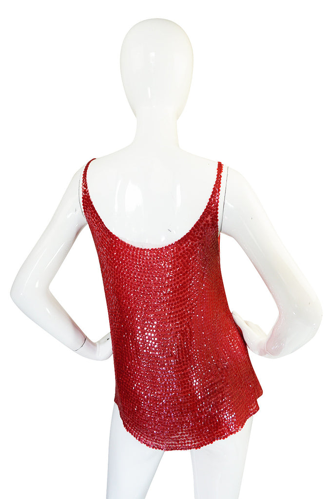c. 1979 Unlabeled Halston Red Sequin Covered Tank Top