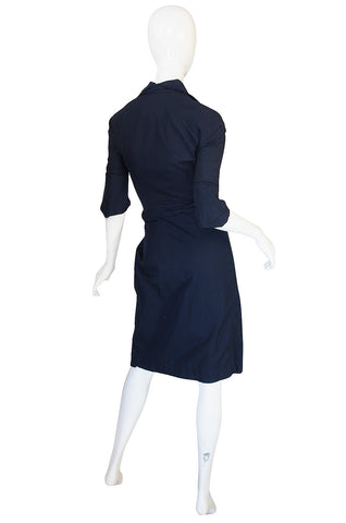 1990s Vivienne Westwood Deep Blue Cotton Wrap Dress