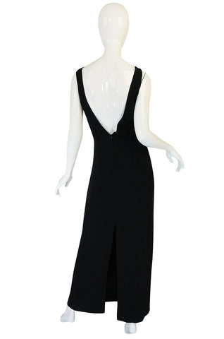 1990s State of Claude Montana Plunging Bare Back Dress
