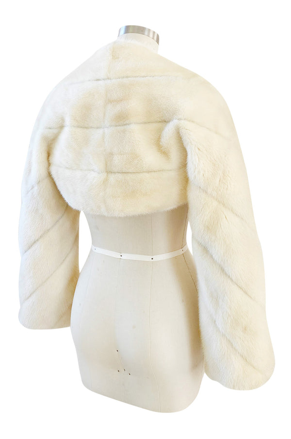 Fall 2004 Valentino Runway Documented Ivory Cream Mink Fur Shrug