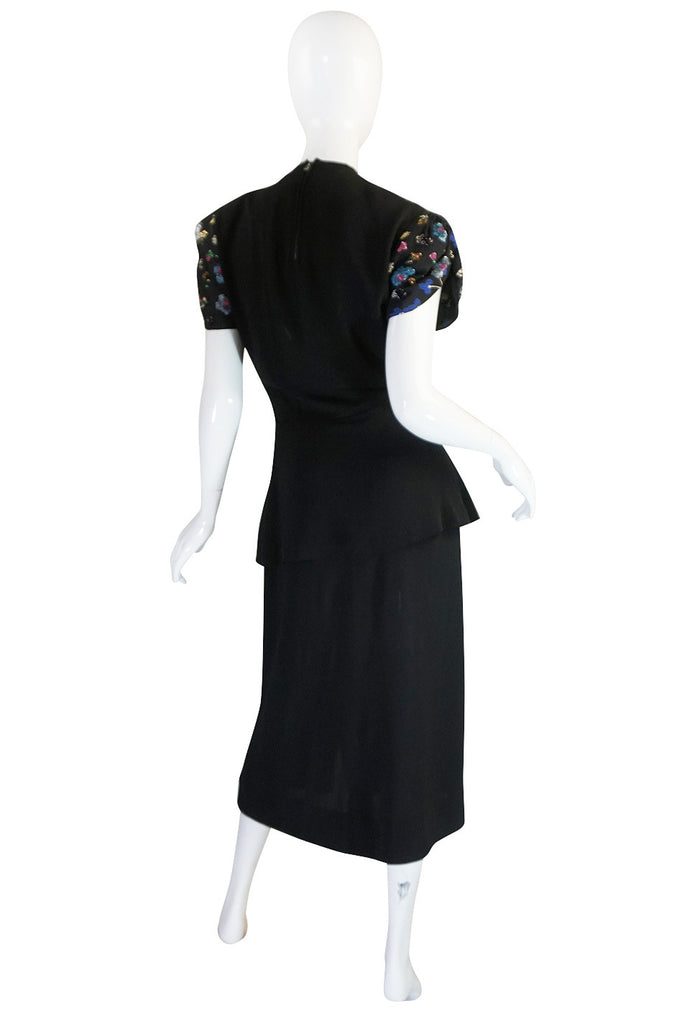 Exceptional 1930s Samuel Kass Sequin Silk Swing Dress