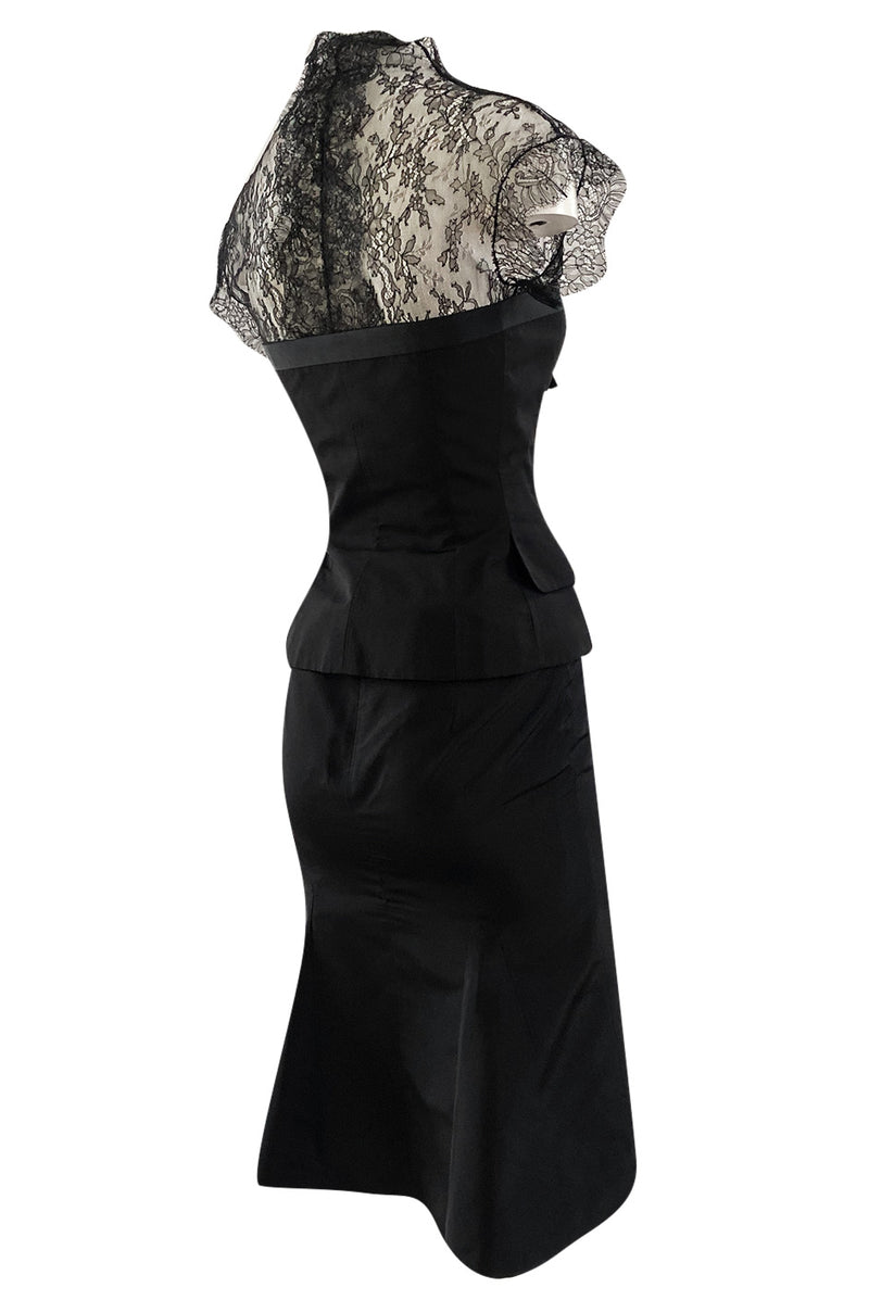 Spring 2004 Alexander McQueen Black Silk Taffeta and Black Lace Detailed Top & Skirt Set