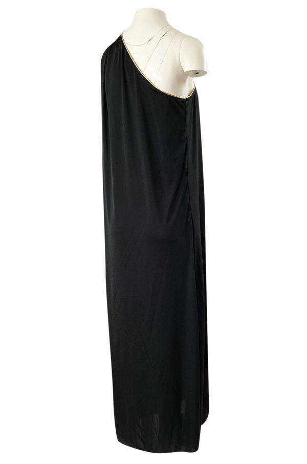1981 Bill Tice Black One Shoulder Jersey Dress w Gold Lame Flower Detailing