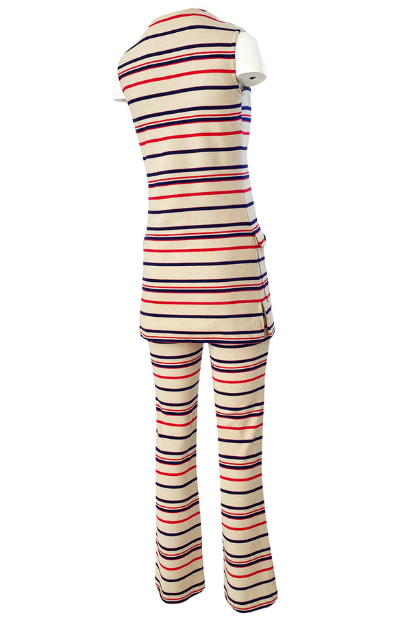 1970s Givenchy Taupe Red and Blue Striped Knit Jersey Pant & Top Set
