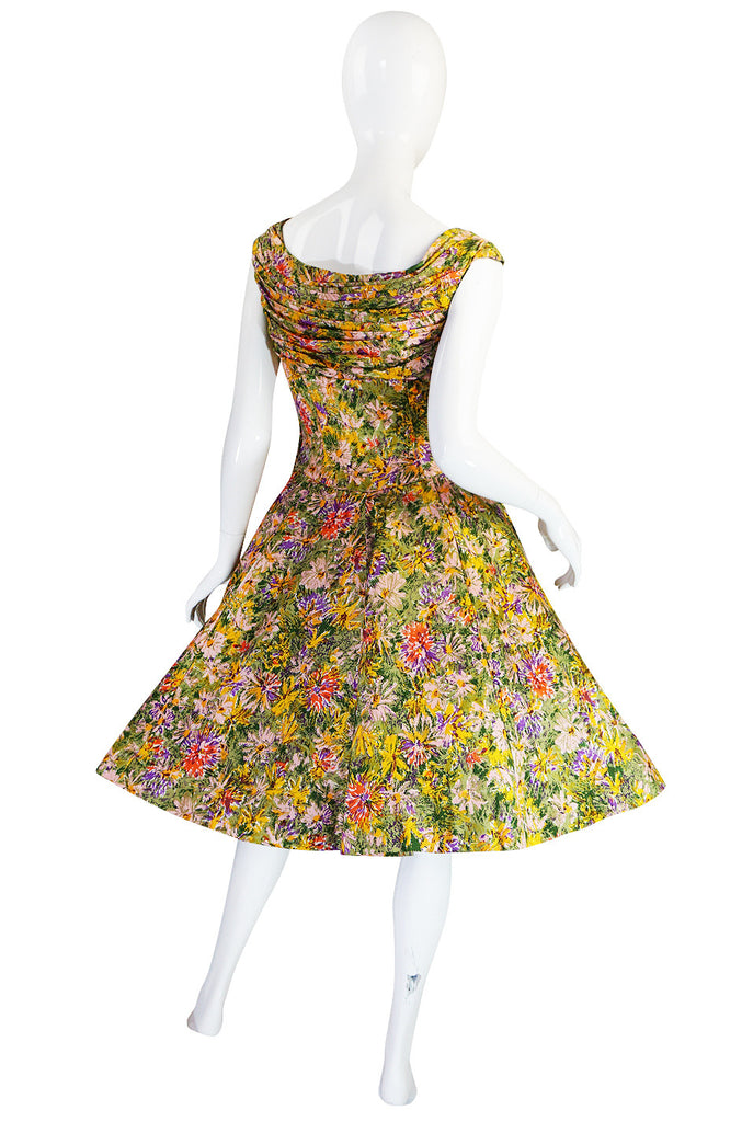 Extraordinary 1950s Yellow Silk Ceil Chapman Dress