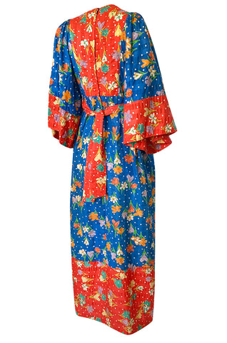 1960s Young Innocents by Arpeja Red & Blue Cotton Floral Print Caftan Dress