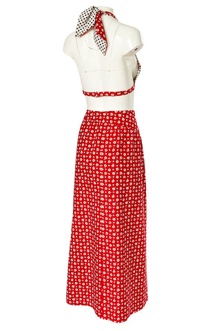 1970s Donald Brooks Bandana Print & Dot Skirt & Halter Dress Set