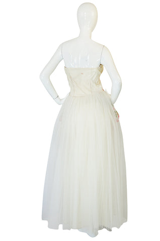 Treasure Item - 1950s Floral Embroidered & Tulle Strapless Dress
