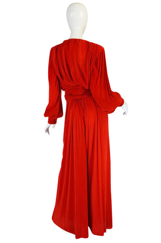 Late 1970s Loris Azzaro Couture Red Pant & Wrap Top