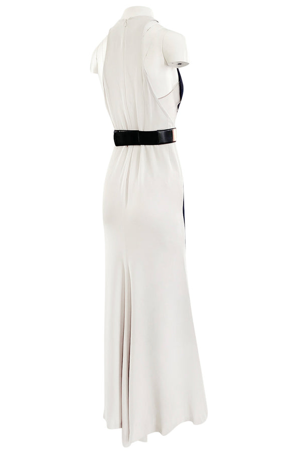 Well Documented Fall 2012 Evening Stella McCartney 'Saskia' Navy & Ivory Dress w Mesh Insets